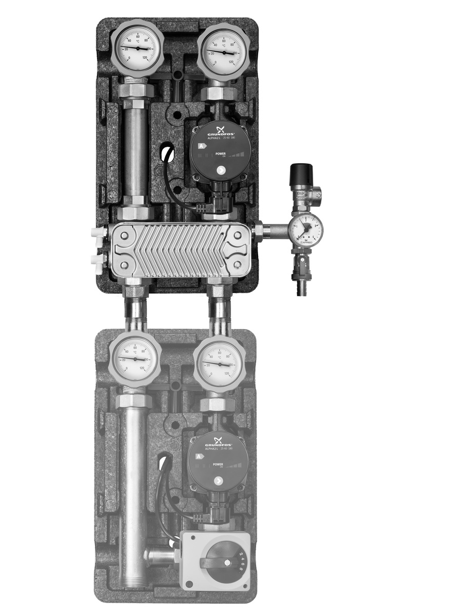Насосные группы UK разделительный контур с разделительным теплообменником и насосом с бронзовым корпусом