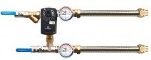Смесительный узел для воздухоохладителя с приборами и гибкой подводкой (схема 4)