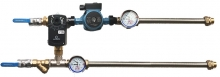 Смесительный узел для воздухонагревателя c приборами и гибкой подводкой (схема 4)