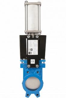 Задвижка шиберная СМО A-01-D/A-E чугунная межфланцевая с пневмоприводом